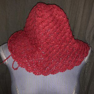Talbots NEW red paper straw packable sun hat